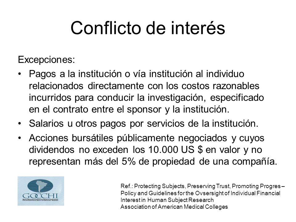 Conflicto de interés Excepciones: