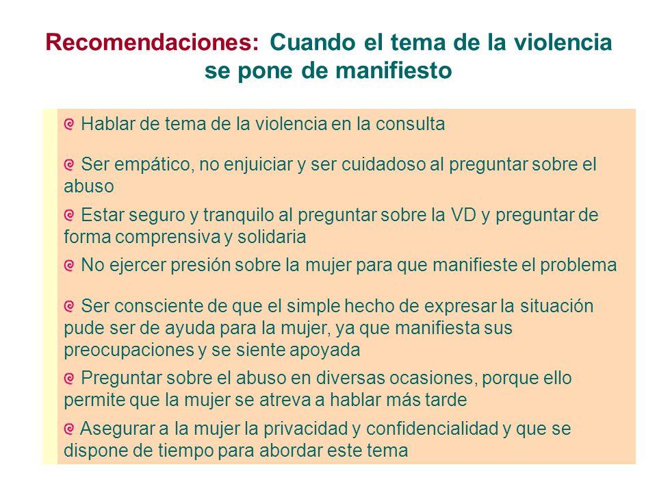 Recomendaciones: Cuando el tema de la violencia se pone de manifiesto