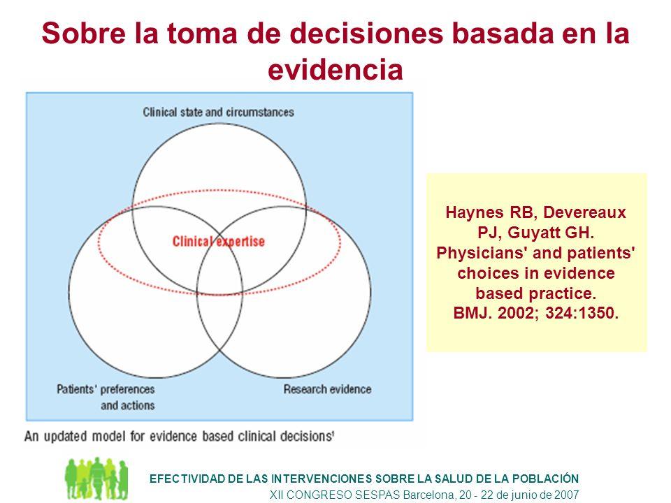 Sobre la toma de decisiones basada en la evidencia
