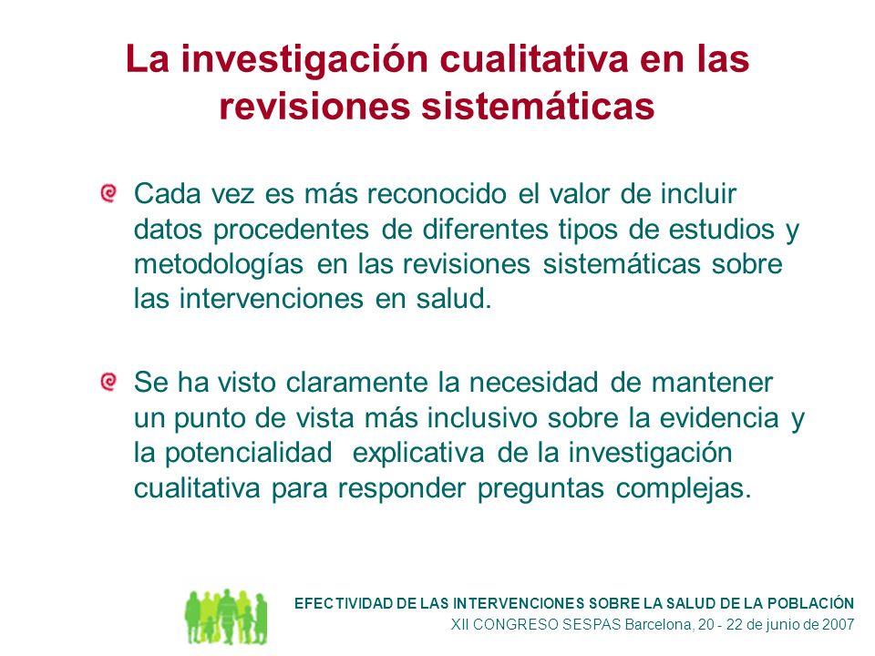 La investigación cualitativa en las revisiones sistemáticas