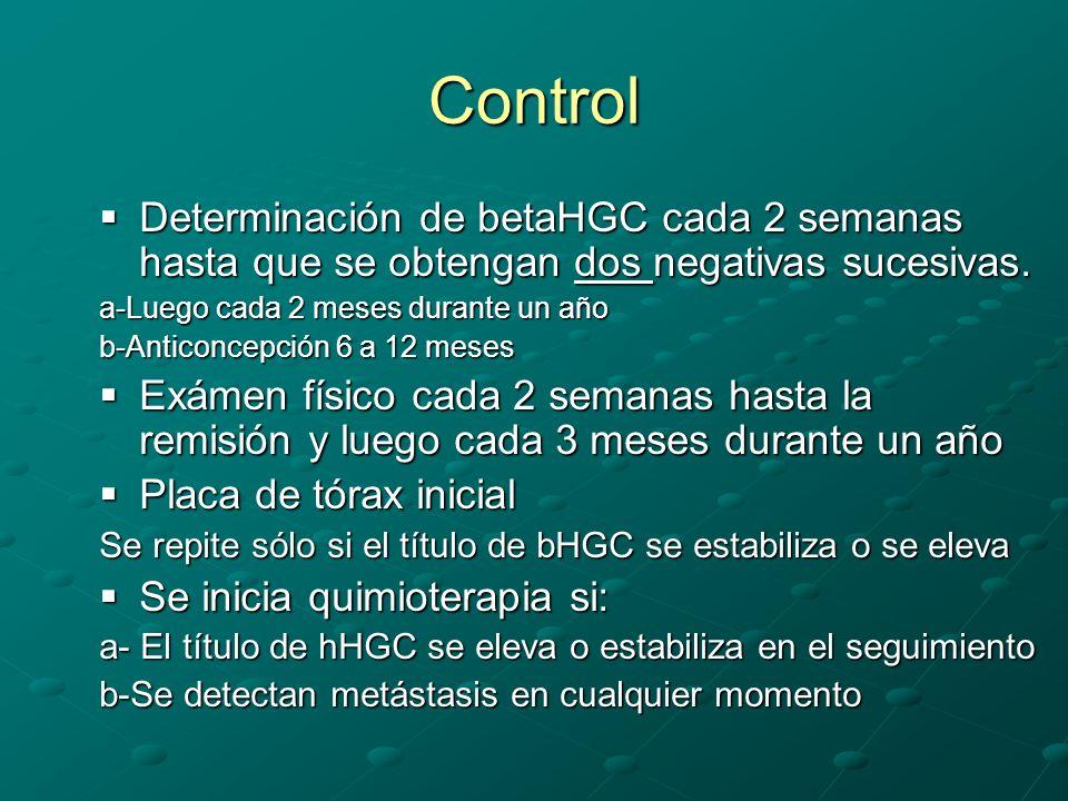 Control Determinación de betaHGC cada 2 semanas hasta que se obtengan dos negativas sucesivas. a-Luego cada 2 meses durante un año.