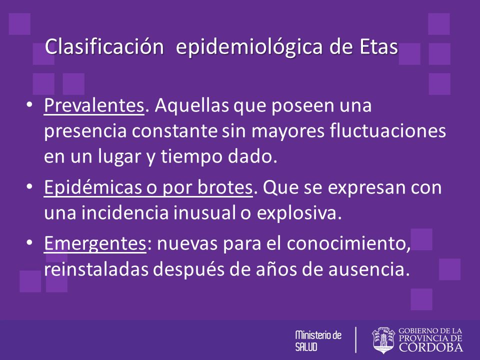 Clasificación epidemiológica de Etas