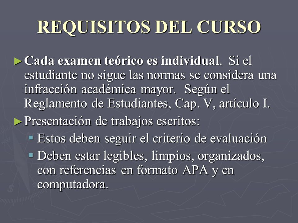 REQUISITOS DEL CURSO
