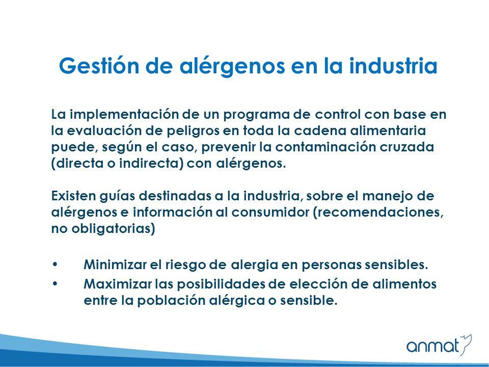 Gestión de alérgenos en la industria