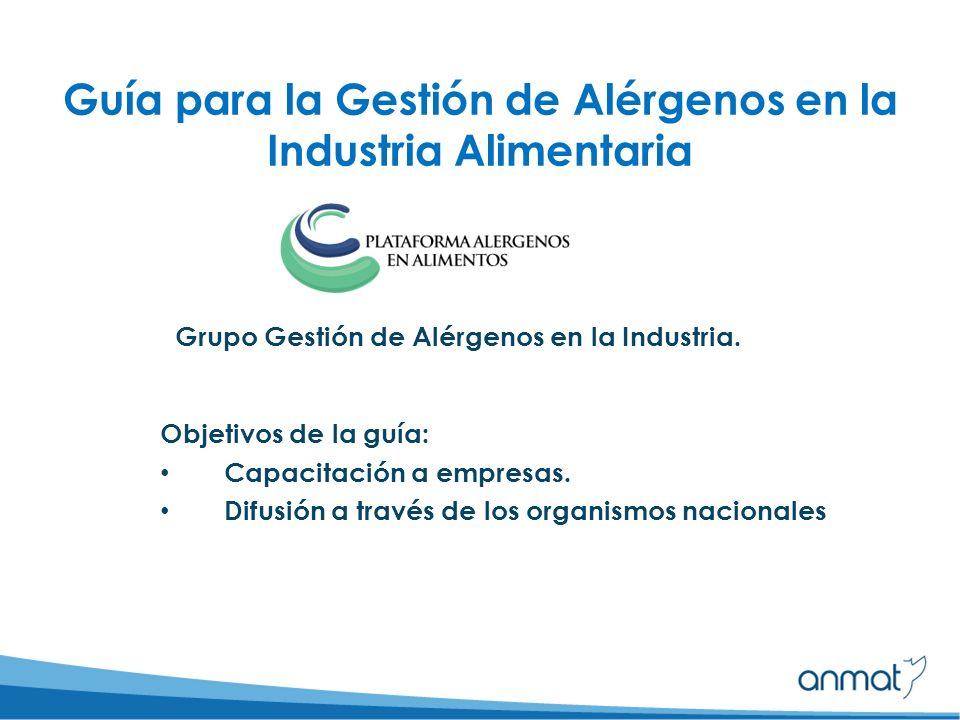 Guía para la Gestión de Alérgenos en la Industria Alimentaria