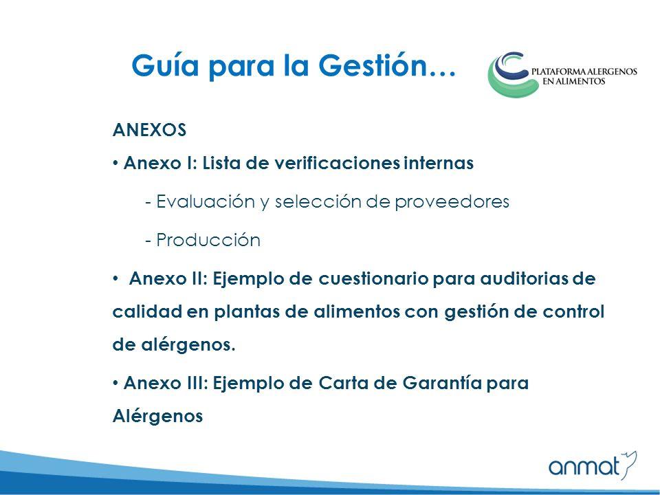 Guía para la Gestión… ANEXOS Anexo I: Lista de verificaciones internas