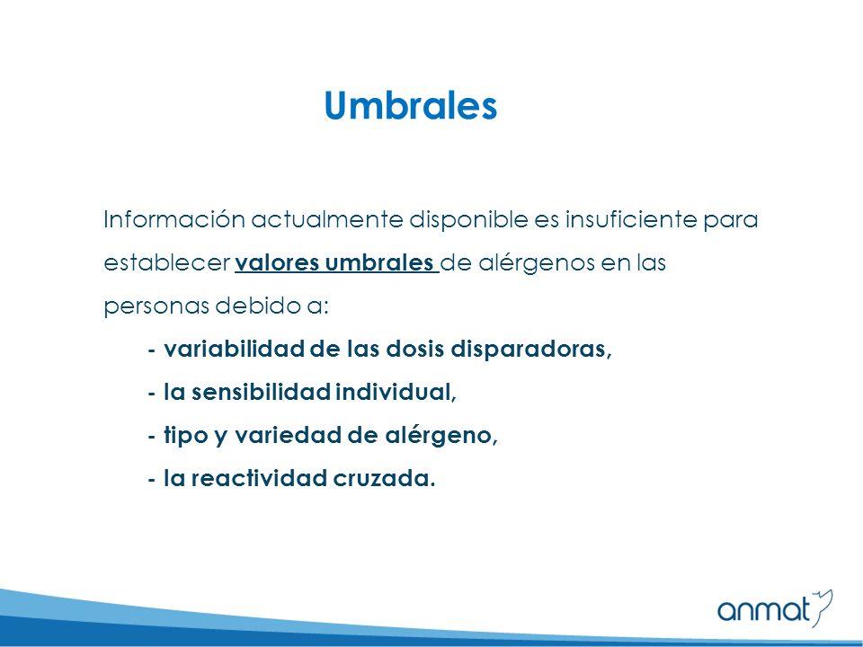 Umbrales Información actualmente disponible es insuficiente para establecer valores umbrales de alérgenos en las personas debido a: