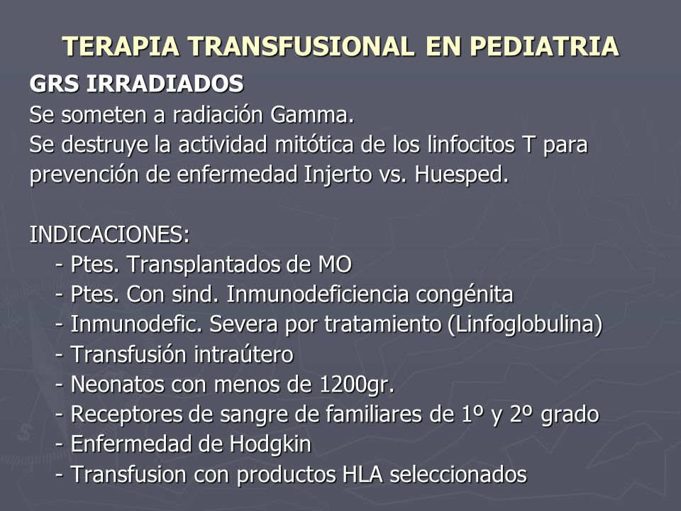 TERAPIA TRANSFUSIONAL EN PEDIATRIA