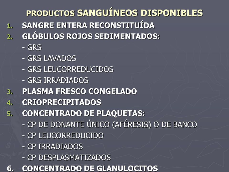 PRODUCTOS SANGUÍNEOS DISPONIBLES