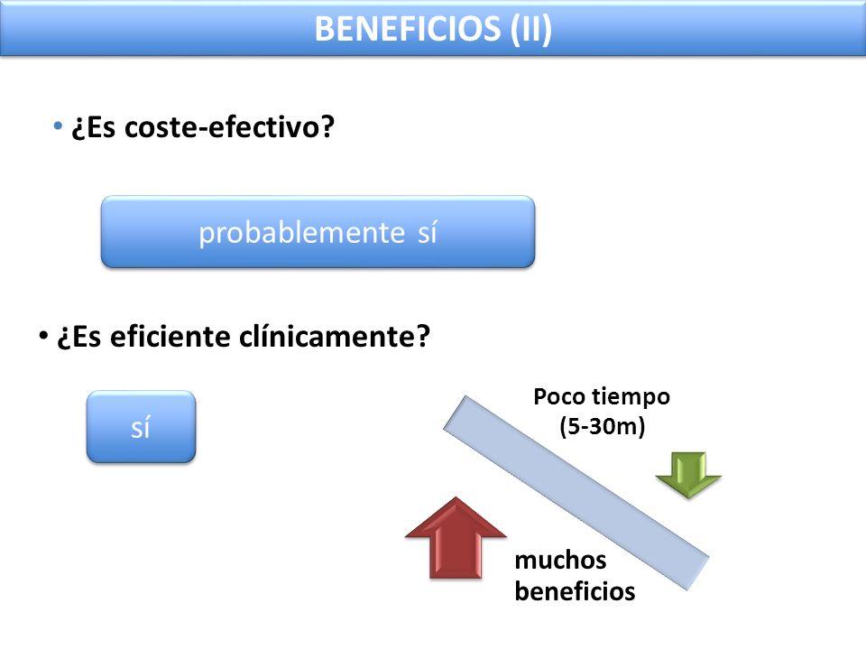 BENEFICIOS (II) ¿Es coste-efectivo probablemente sí
