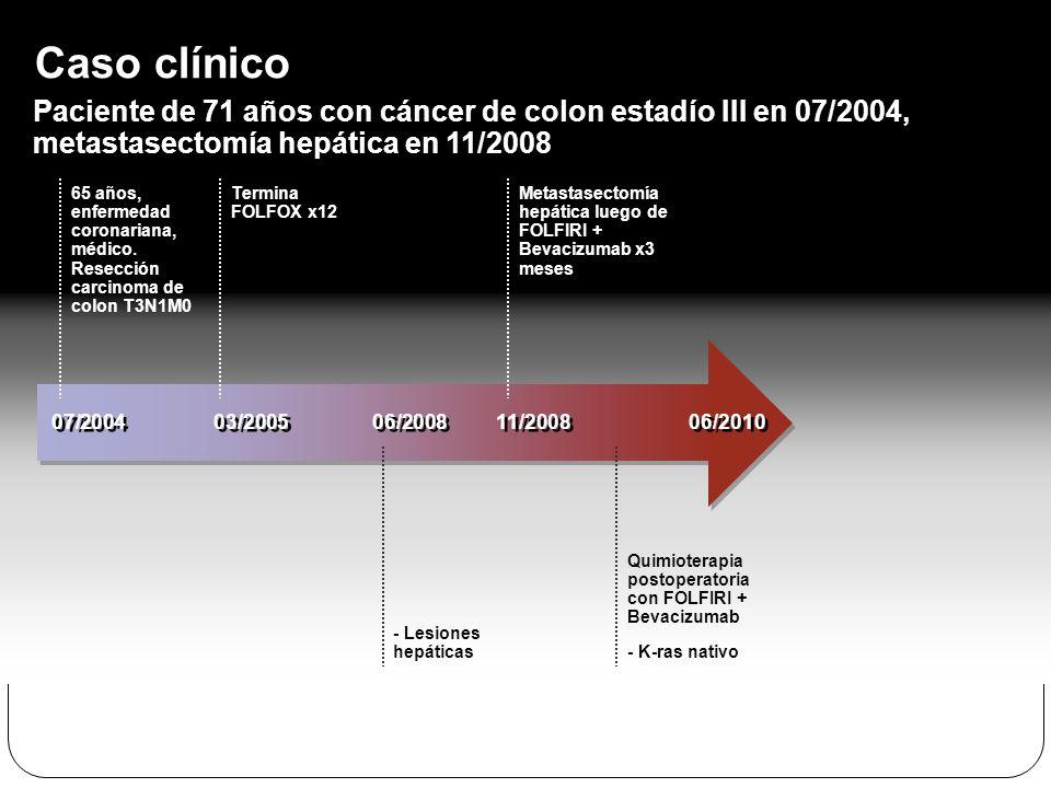 Caso clínico Paciente de 71 años con cáncer de colon estadío III en 07/2004, metastasectomía hepática en 11/2008.