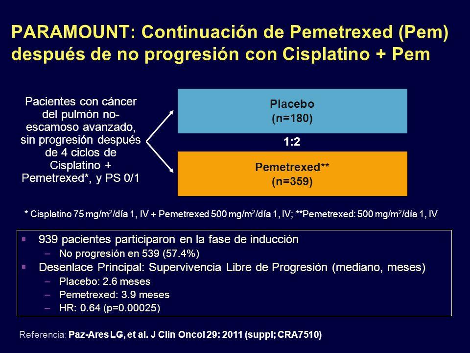 PARAMOUNT: Continuación de Pemetrexed (Pem) después de no progresión con Cisplatino + Pem