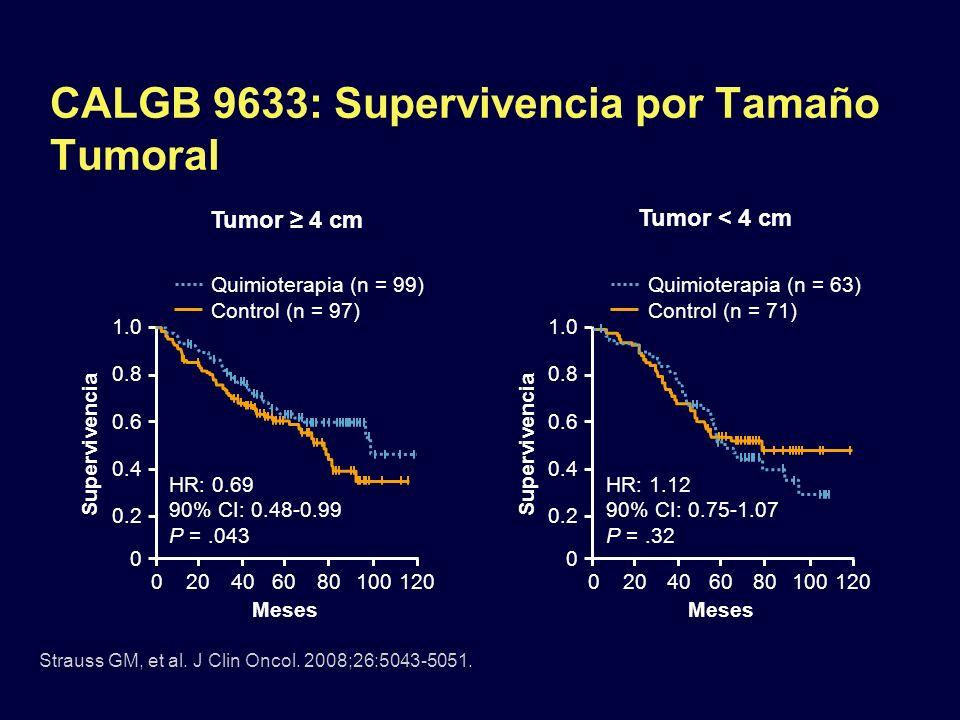 CALGB 9633: Supervivencia por Tamaño Tumoral