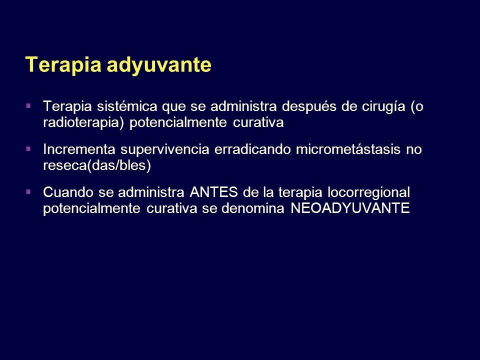 Terapia adyuvante Terapia sistémica que se administra después de cirugía (o radioterapia) potencialmente curativa.