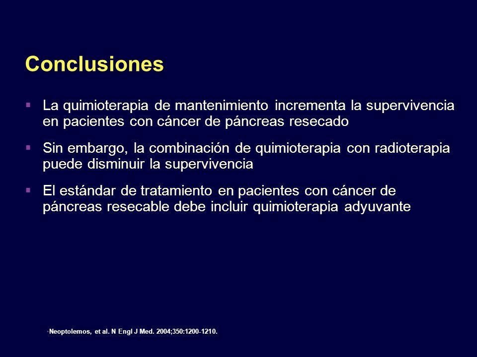 Conclusiones La quimioterapia de mantenimiento incrementa la supervivencia en pacientes con cáncer de páncreas resecado.