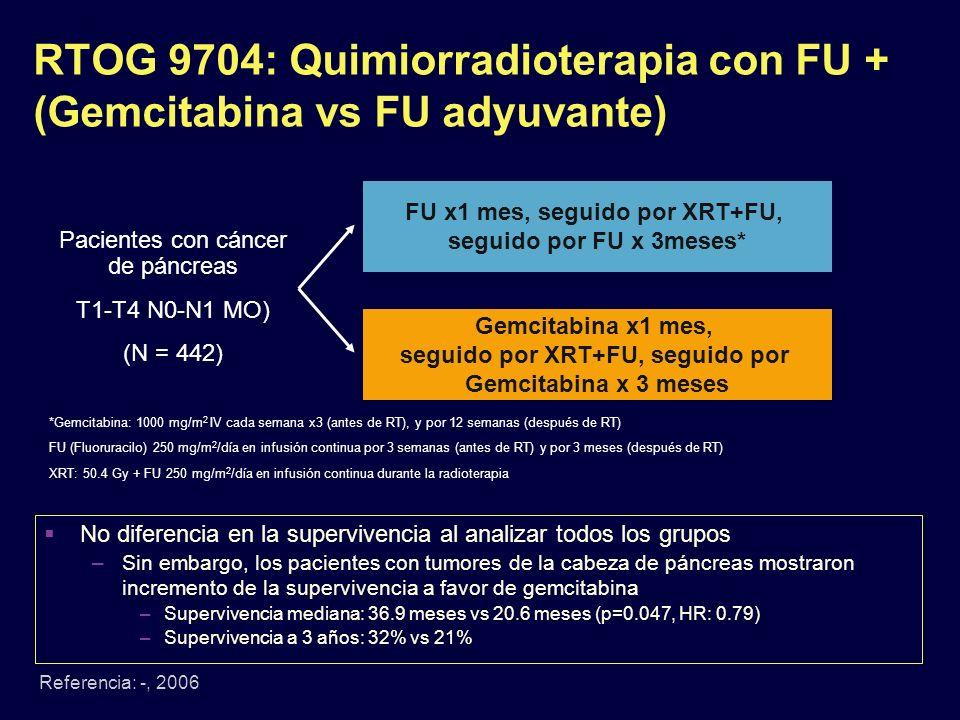 RTOG 9704: Quimiorradioterapia con FU + (Gemcitabina vs FU adyuvante)