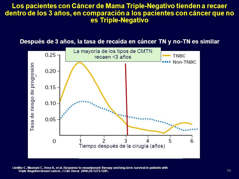 Después de 3 años, la tasa de recaída en cáncer TN y no-TN es similar