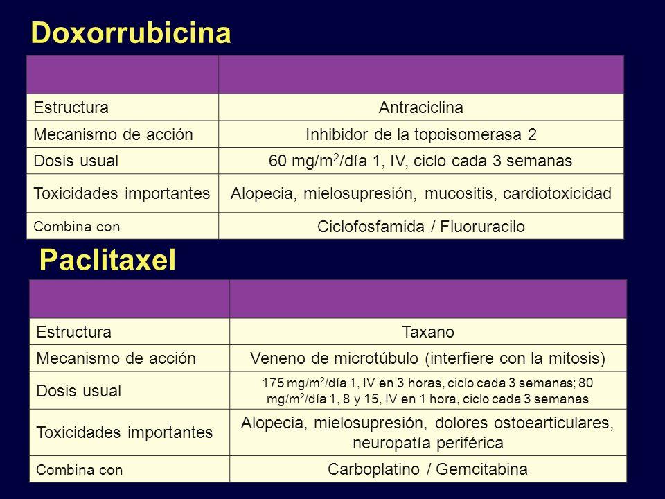Doxorrubicina Paclitaxel Estructura Antraciclina Mecanismo de acción