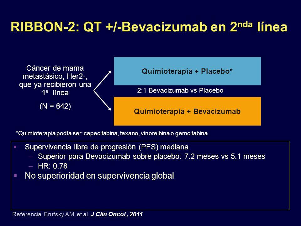 RIBBON-2: QT +/-Bevacizumab en 2nda línea