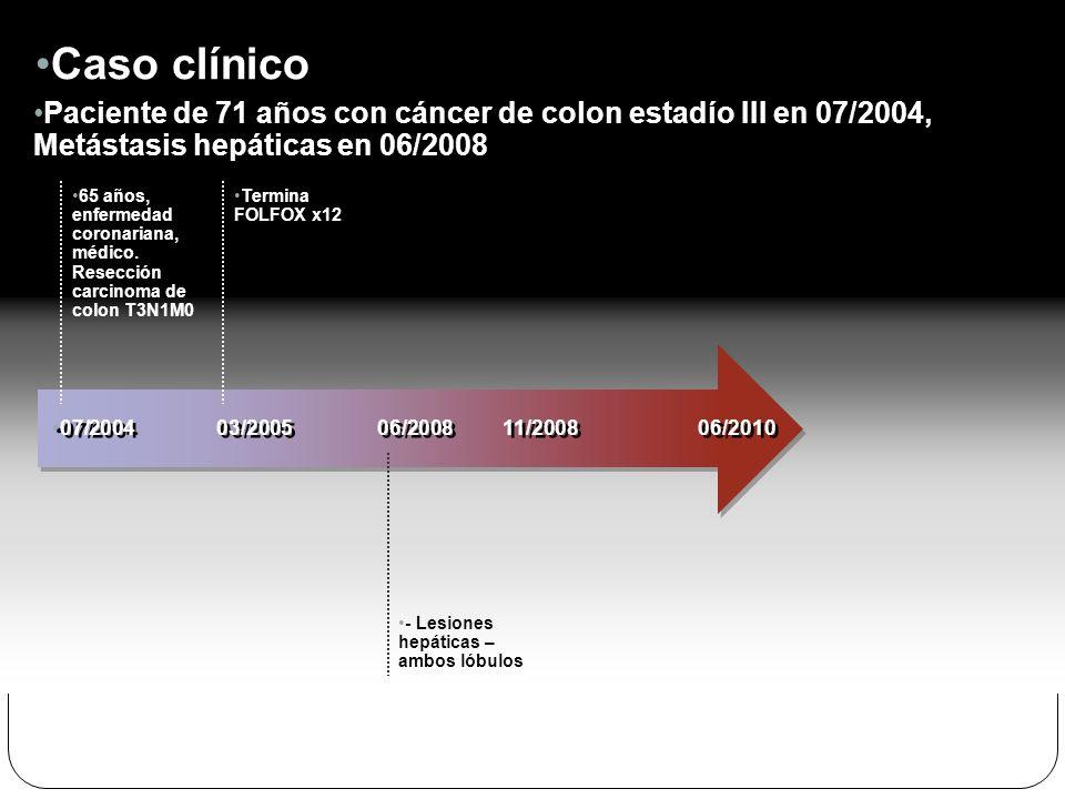 Caso clínico Paciente de 71 años con cáncer de colon estadío III en 07/2004, Metástasis hepáticas en 06/2008.