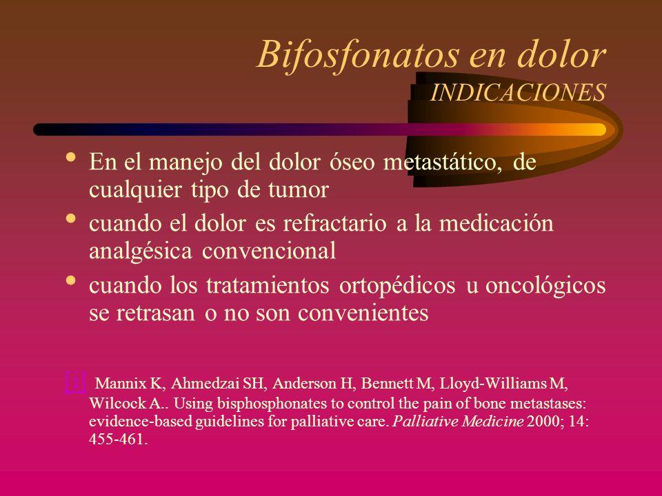 Bifosfonatos en dolor INDICACIONES