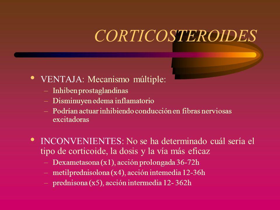 CORTICOSTEROIDES VENTAJA: Mecanismo múltiple: