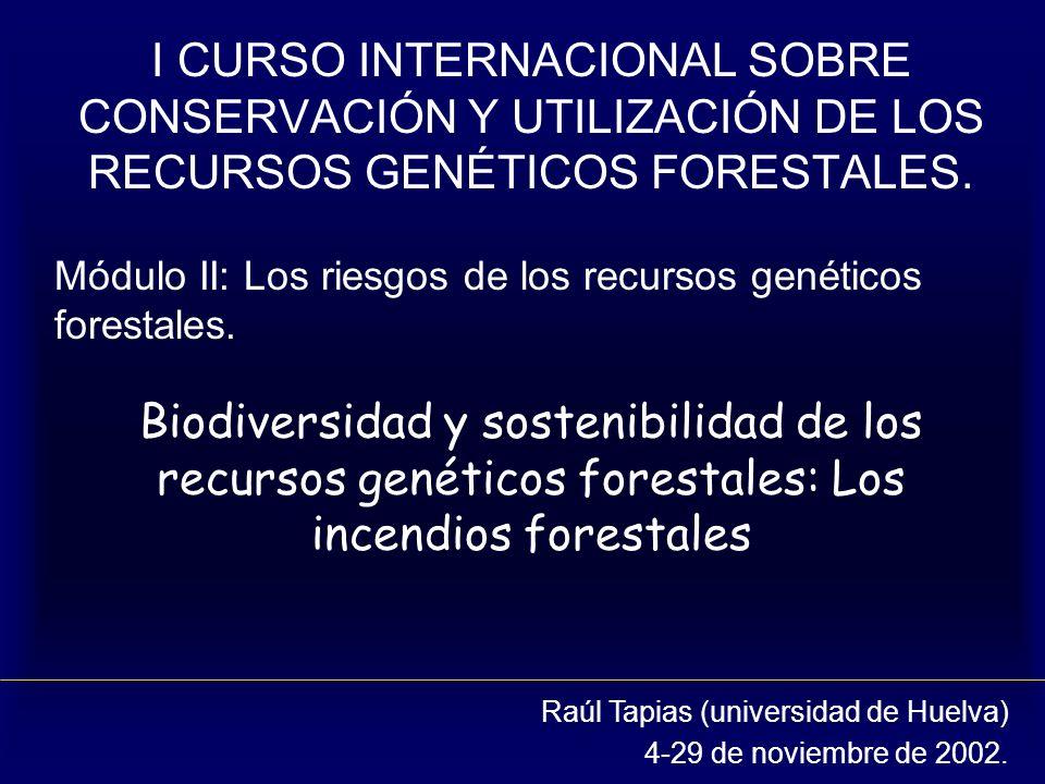 I CURSO INTERNACIONAL SOBRE CONSERVACIÓN Y UTILIZACIÓN DE LOS RECURSOS GENÉTICOS FORESTALES.