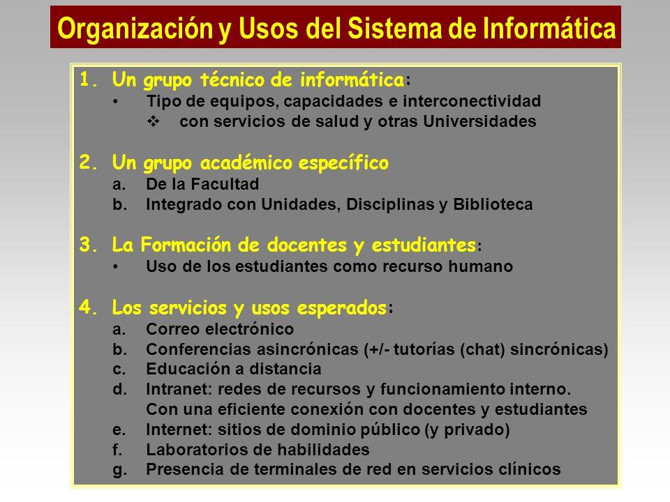 Organización y Usos del Sistema de Informática