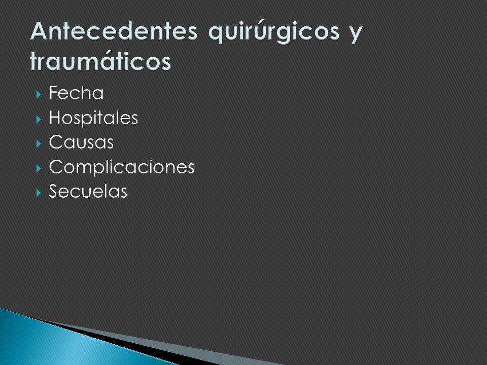 Antecedentes quirúrgicos y traumáticos