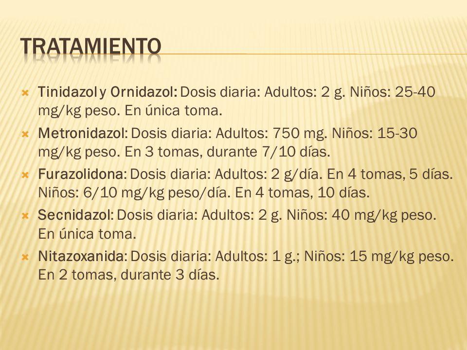 tRATAMIENTO Tinidazol y Ornidazol: Dosis diaria: Adultos: 2 g. Niños: 25-40 mg/kg peso. En única toma.