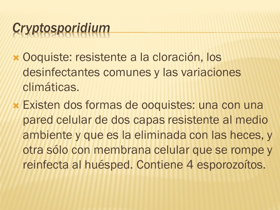 Cryptosporidium Ooquiste: resistente a la cloración, los desinfectantes comunes y las variaciones climáticas.