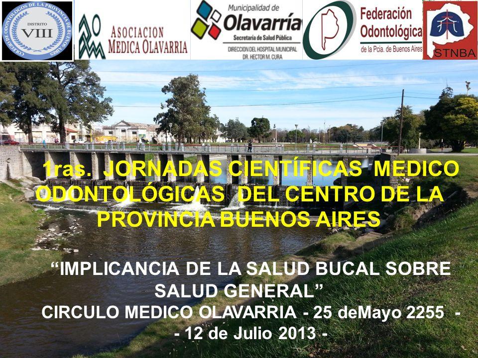 1ras. JORNADAS CIENTÍFICAS MEDICO ODONTOLÓGICAS DEL CENTRO DE LA PROVINCIA BUENOS AIRES