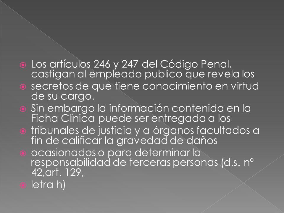 Los artículos 246 y 247 del Código Penal, castigan al empleado publico que revela los