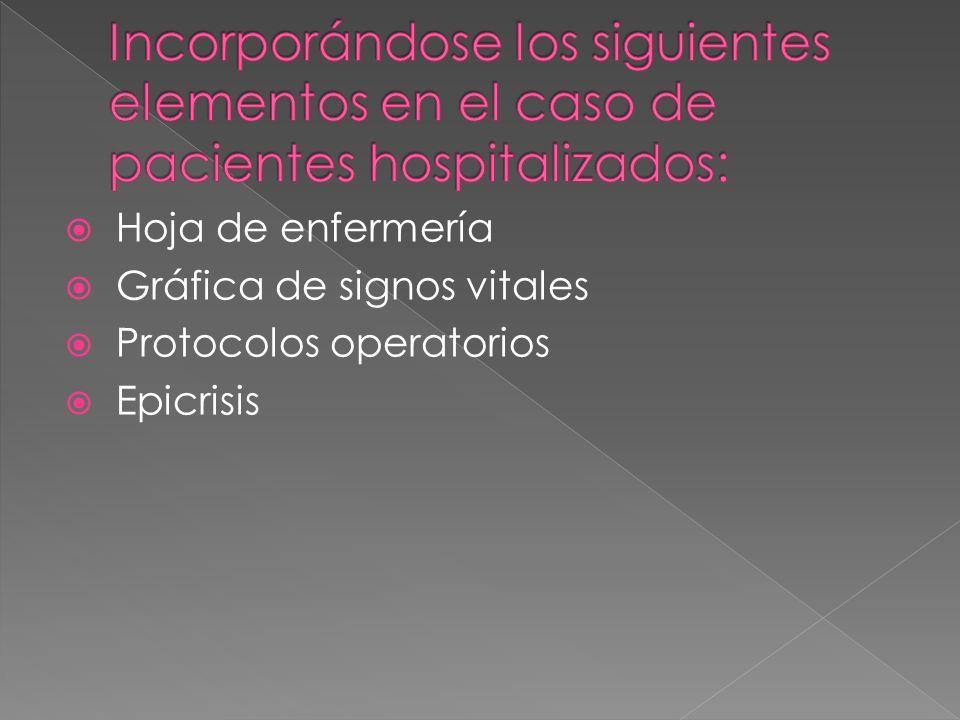 Incorporándose los siguientes elementos en el caso de pacientes hospitalizados: