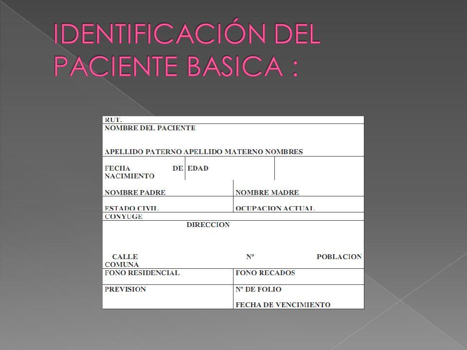 IDENTIFICACIÓN DEL PACIENTE BASICA :