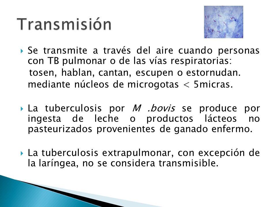 Transmisión Se transmite a través del aire cuando personas con TB pulmonar o de las vías respiratorias:
