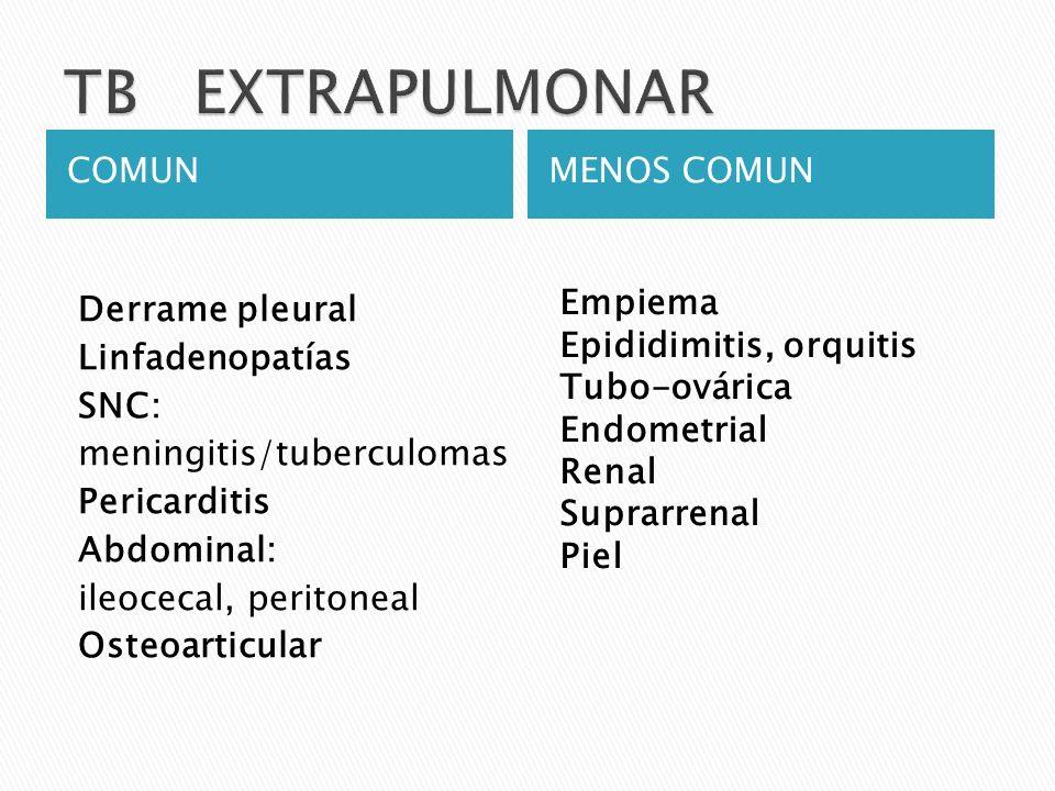 TB EXTRAPULMONAR COMUN MENOS COMUN