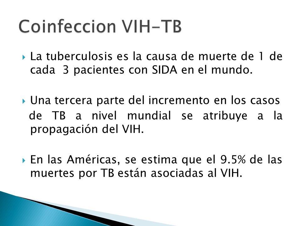 Coinfeccion VIH-TB La tuberculosis es la causa de muerte de 1 de cada 3 pacientes con SIDA en el mundo.
