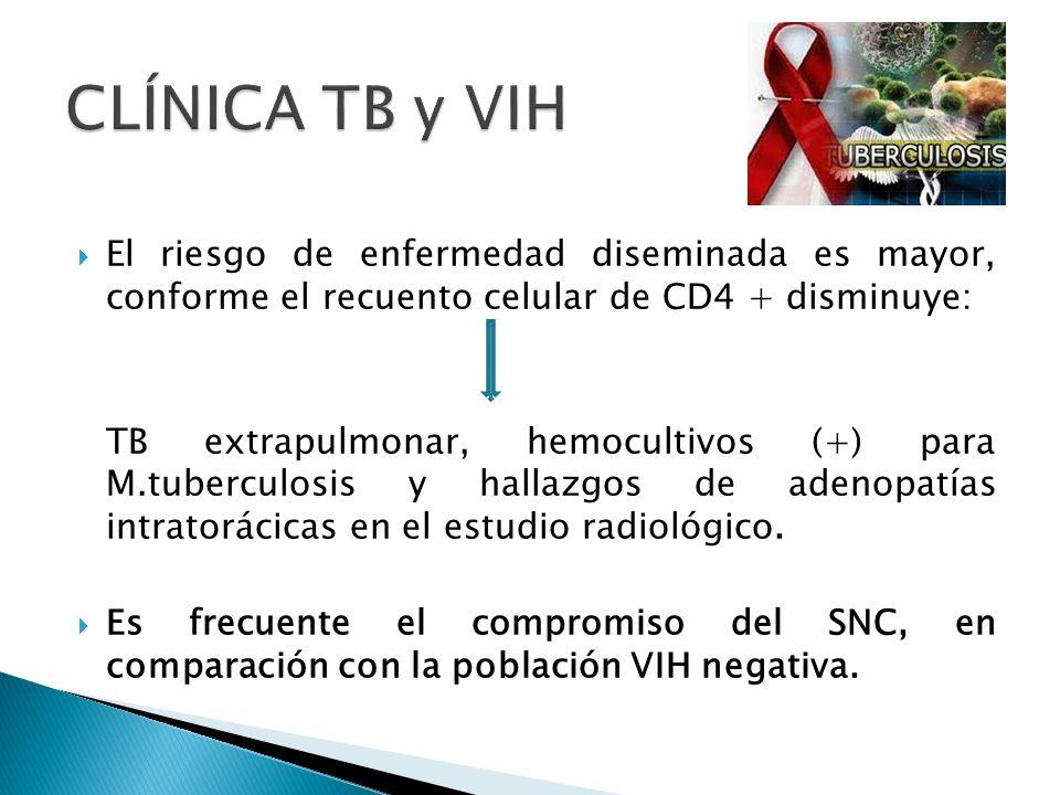 CLÍNICA TB y VIH El riesgo de enfermedad diseminada es mayor, conforme el recuento celular de CD4 + disminuye: