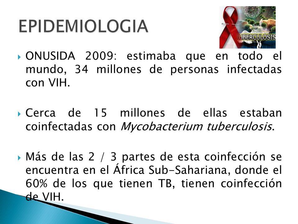 EPIDEMIOLOGIA ONUSIDA 2009: estimaba que en todo el mundo, 34 millones de personas infectadas con VIH.