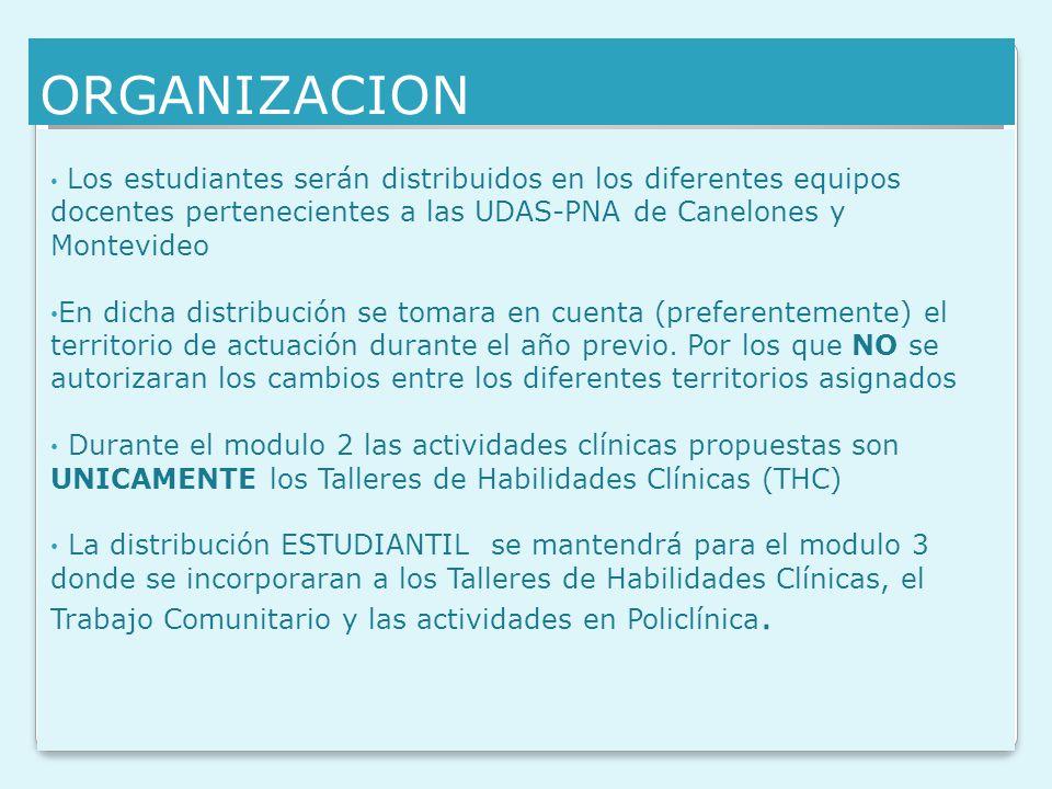 ORGANIZACION Los estudiantes serán distribuidos en los diferentes equipos docentes pertenecientes a las UDAS-PNA de Canelones y Montevideo.