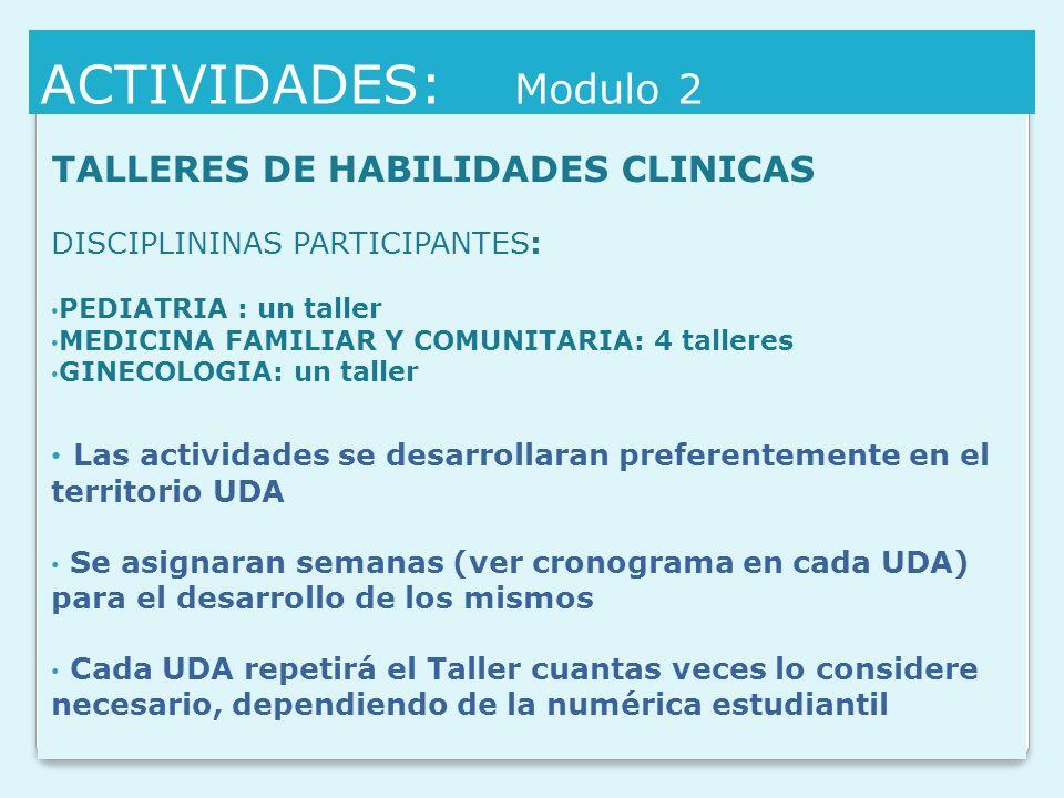 ACTIVIDADES: Modulo 2 TALLERES DE HABILIDADES CLINICAS