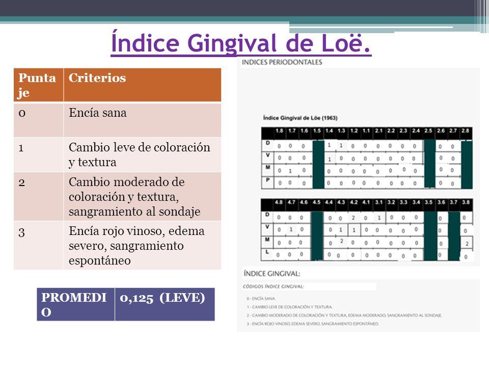 Índice Gingival de Loë. Puntaje Criterios Encía sana 1