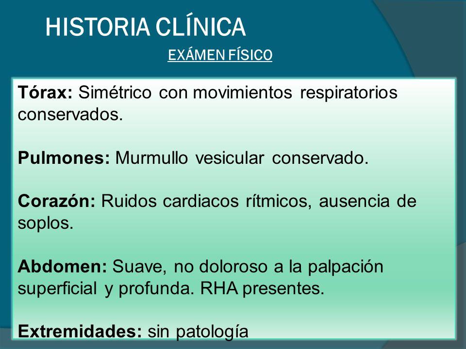 HISTORIA CLÍNICA EXÁMEN FÍSICO. Tórax: Simétrico con movimientos respiratorios conservados. Pulmones: Murmullo vesicular conservado.