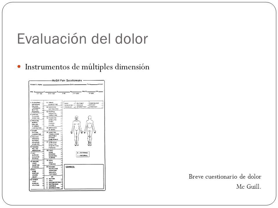 Evaluación del dolor Instrumentos de múltiples dimensión