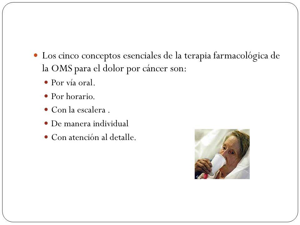 Los cinco conceptos esenciales de la terapia farmacológica de la OMS para el dolor por cáncer son: