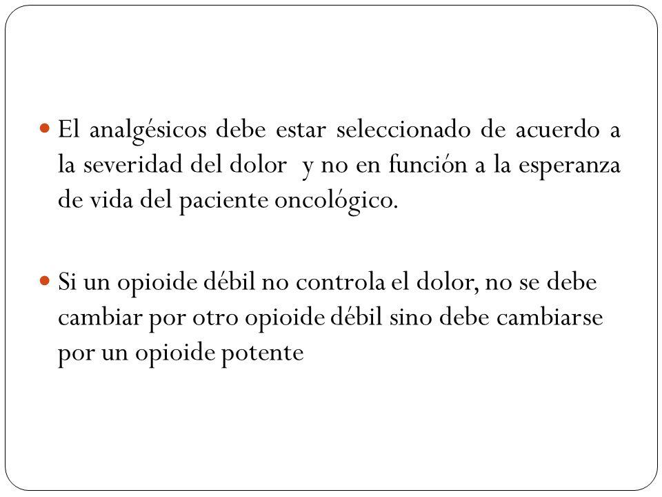 El analgésicos debe estar seleccionado de acuerdo a la severidad del dolor y no en función a la esperanza de vida del paciente oncológico.