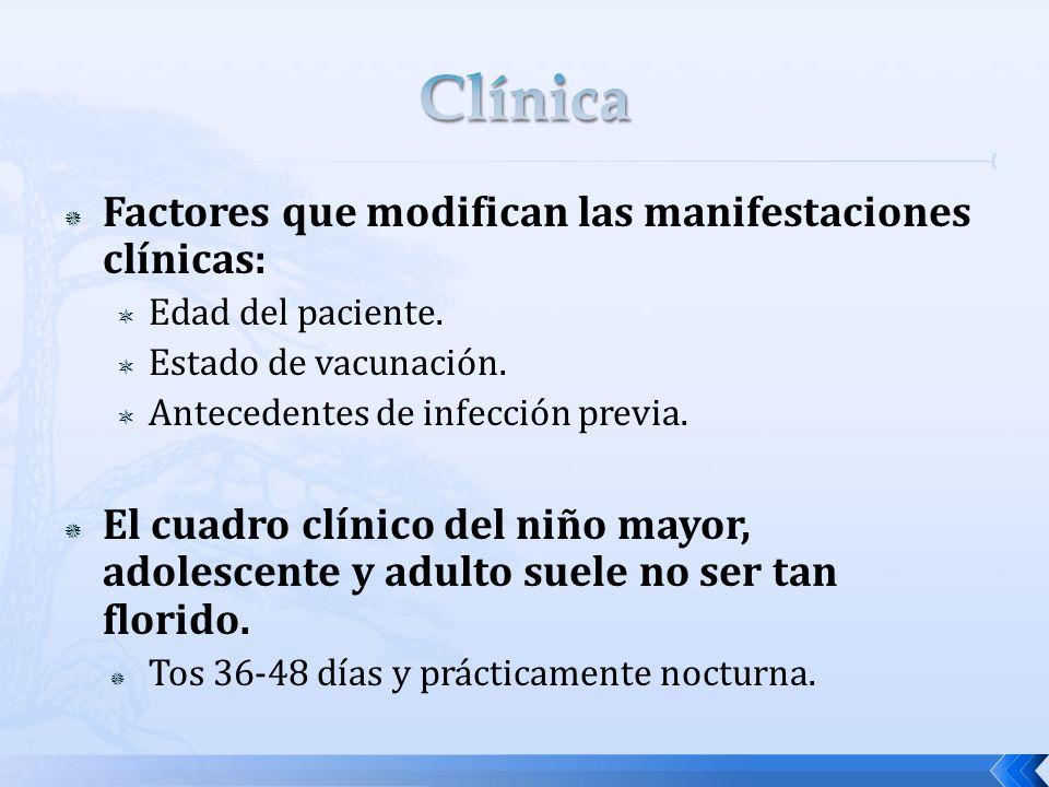Clínica Factores que modifican las manifestaciones clínicas:
