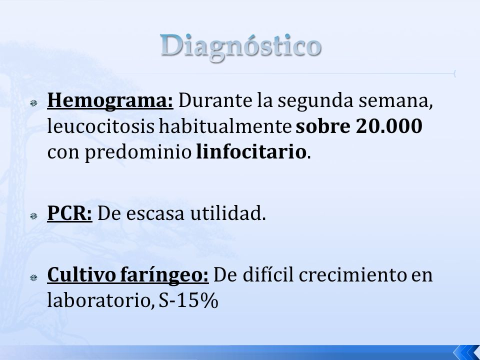Diagnóstico Hemograma: Durante la segunda semana, leucocitosis habitualmente sobre 20.000 con predominio linfocitario.