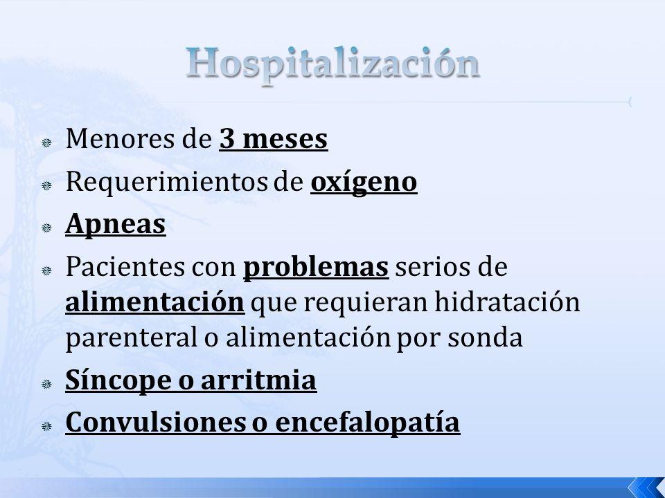 Hospitalización Menores de 3 meses Requerimientos de oxígeno Apneas